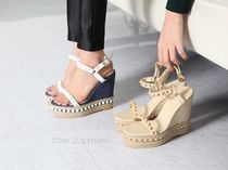 Open Toe Casual Style Blended Fabrics Plain