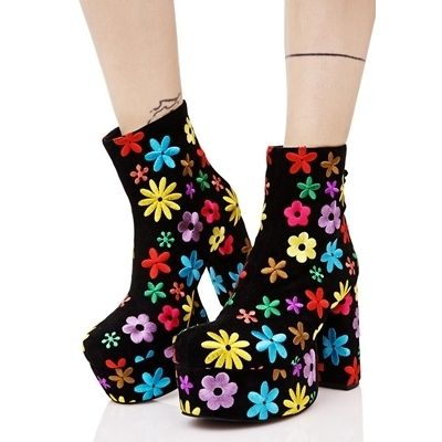 Flower Patterns Plain Toe Casual Style Suede Street Style