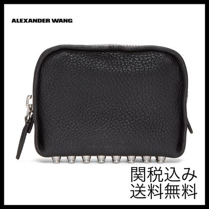 Unisex Studded Plain Leather Pouches & Cosmetic Bags