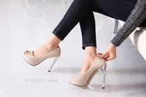 Open Toe Plain Block Heels With Jewels Office Style