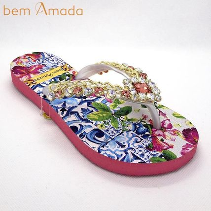 Flower Patterns Tropical Patterns Flip Flops With Jewels