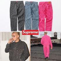 Supreme Stripes Unisex Denim Street Style Collaboration
