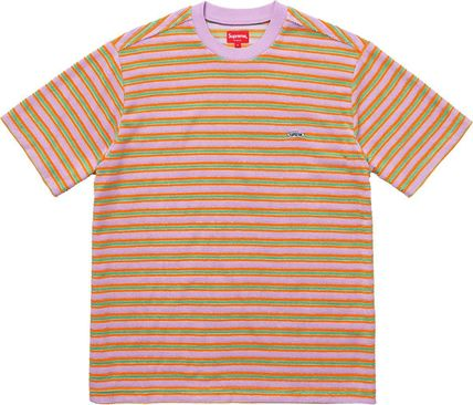 Supreme Stripes Unisex Street Style U-Neck Cotton Short Sleeves