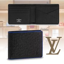 Louis Vuitton Plain Leather Folding Wallets