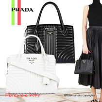 PRADA DIAGRAMME Calfskin 2WAY Plain Elegant Style Handbags
