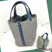 HERMES Picotin Plain Leather Bags