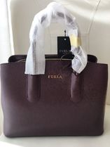 FURLA Casual Style 2WAY Plain Leather Party Style Office Style