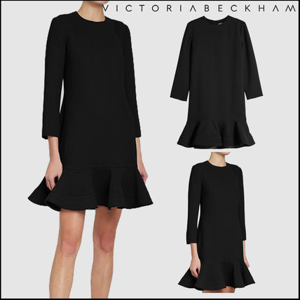 Crew Neck Short Casual Style Plain Dresses