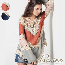 Lace-up Casual Style Linen Blended Fabrics V-Neck Bi-color