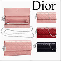 Christian Dior LADY DIOR Chain Plain Long Wallets