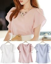 Plain Puff Sleeves Shirts & Blouses
