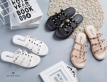 Open Toe Rubber Sole Casual Style Blended Fabrics Studded