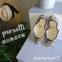 PORSELLI Leopard Patterns Suede Handmade Ballet Shoes