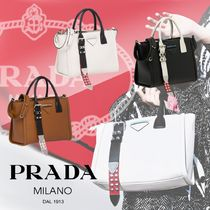 PRADA CONCEPT  Calfskin Studded 2WAY Plain Handbags