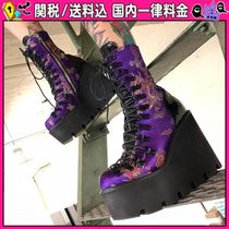 DOLLS KILL Round Toe Lace-up Casual Style Lace-up Boots