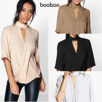 boohoo Casual Style Cropped Plain Medium Khaki Shirts & Blouses