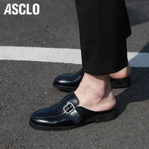 ASCLO Loafers Street Style Plain Leather U Tips Loafers & Slip-ons