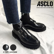 ASCLO Unisex Street Style Plain Leather U Tips Oxfords