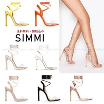 SIMMI Open Toe Faux Fur Plain Pin Heels Elegant Style