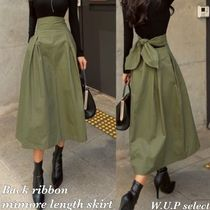 Flared Skirts Casual Style Plain Medium Midi Skirts