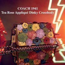 Coach DINKY Flower Patterns 2WAY Chain Leather Elegant Style