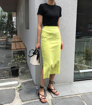 Pencil Skirts Casual Style Linen Plain Medium Midi Skirts