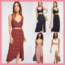 Free People Casual Style Tight Sleeveless V-Neck Cotton Long Dresses