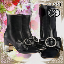GUCCI Casual Style Chunky Heels High Heel Boots