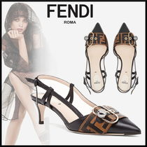 FENDI Monogram Leather Pin Heels Elegant Style