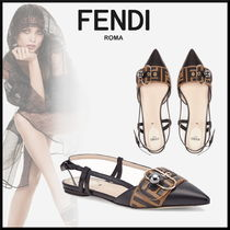 FENDI Monogram Leather Elegant Style Slip-On Shoes
