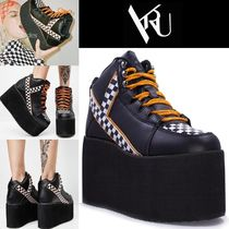 YRU Other Check Patterns Platform Lace-up Casual Style Faux Fur