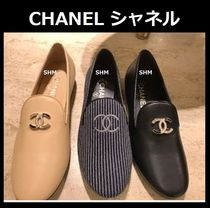 CHANEL TIMELESS CLASSICS Stripes Plain Leather With Jewels Elegant Style