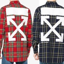 Off-White Street Style Long Sleeves Plain Cotton Shirts