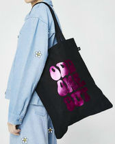 LAZY OAF Casual Style Unisex Canvas Street Style A4 Plain Totes