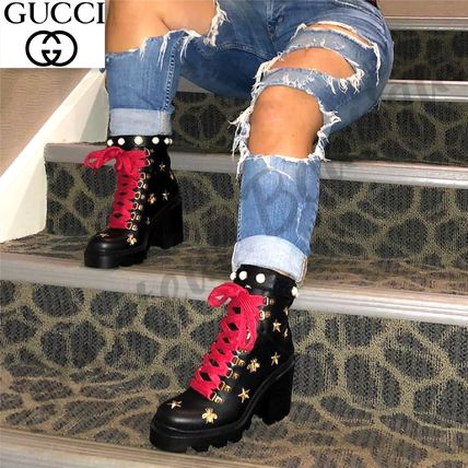 6a18878dbf1c ... GUCCI Lace-up Star Platform Lace-up Casual Style Leather Lace-up Boots  ...