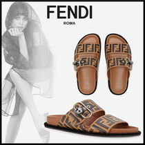 FENDI Monogram Open Toe Casual Style Street Style Leather