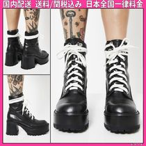 DOLLS KILL Round Toe Lace-up Casual Style Faux Fur Plain Chunky Heels