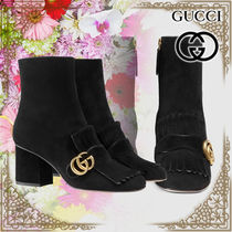 GUCCI Plain Toe Casual Style Suede Chunky Heels High Heel Boots