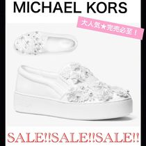 Michael Kors Flower Patterns Round Toe Rubber Sole Casual Style Leather