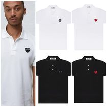COMME des GARCONS Heart Unisex Street Style Cotton Short Sleeves Polos