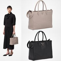 PRADA DIAGRAMME A4 2WAY Plain Leather Office Style Totes