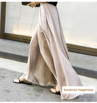 Chiffon Plain Long Oversized Elegant Style Pants