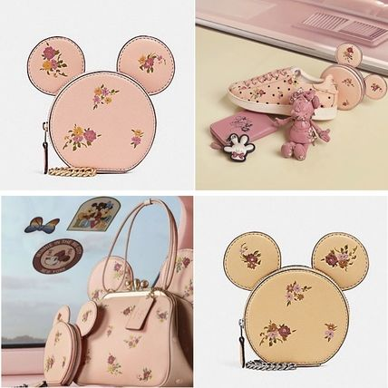 Coach 2018 19aw Flower Patterns Collaboration Chain Leather Coin