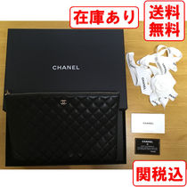 CHANEL MATELASSE Unisex Street Style Plain Leather Clutches