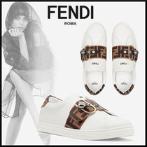 FENDI Monogram Round Toe Rubber Sole Casual Style Leather