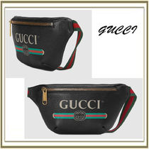 GUCCI Unisex Street Style Plain Leather Hip Packs