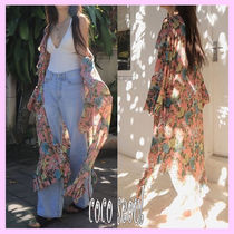 Flower Patterns Casual Style V-Neck Long Sleeves Long Gowns
