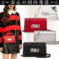 MiuMiu MADRAS Casual Style Leather Shoulder Bags