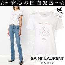 Saint Laurent U-Neck Cotton Long Short Sleeves T-Shirts