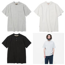 Henry Neck Plain Cotton Short Sleeves Henley T-Shirts